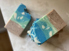 Load image into Gallery viewer, beach day artisan exfoliating shea butter soap