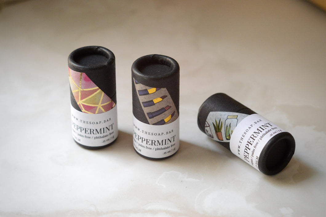 vegan natural artisen lip balm peppermint