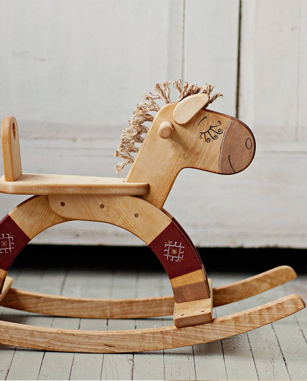 Wooden Red Rocking Horse Toy