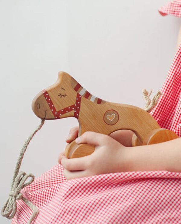 Wooden Pull Red Horse Toy
