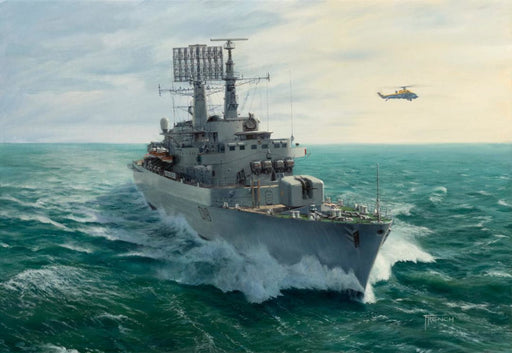 Cutting A Dash - HMS Antrim (D18) - Original Painting