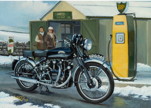 Lee Lacey - A Winter Stop - Vincent Black Shadow