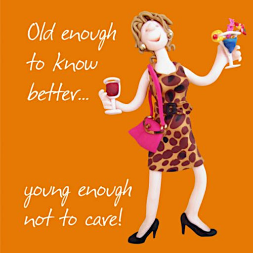 Erica Sturla - Old Enough To Know Better - Wine and Cocktail Birthday Card