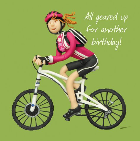 Erica Sturla - All Geared Up Female -  Cycling Birthday Card