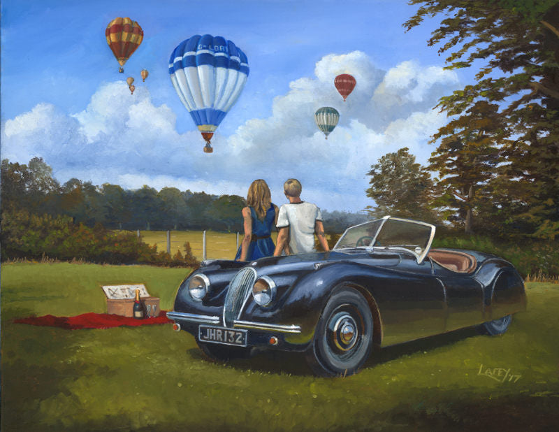 Champagne and Lazy Days - Jaguar XK120 and Balloons Original Painting