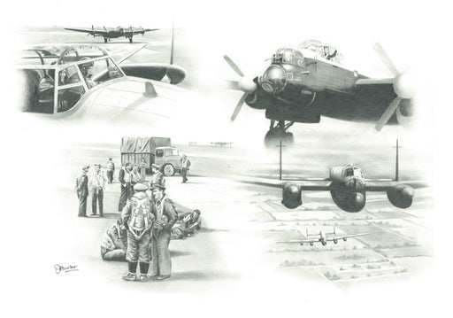 Ops Are On - Avro Lancaster Original Drawing