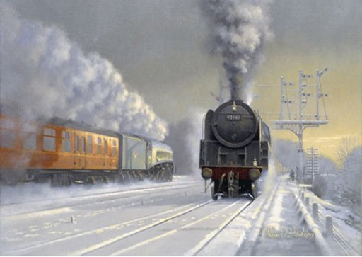 Philip D. Hawkins - Winter at Hatfield - BR 9F