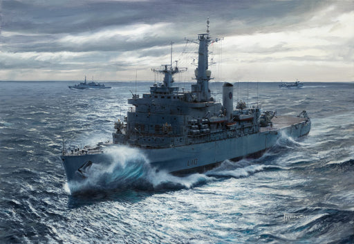 South On A Steely Sea- HMS Fearless (L10) - Original Painting
