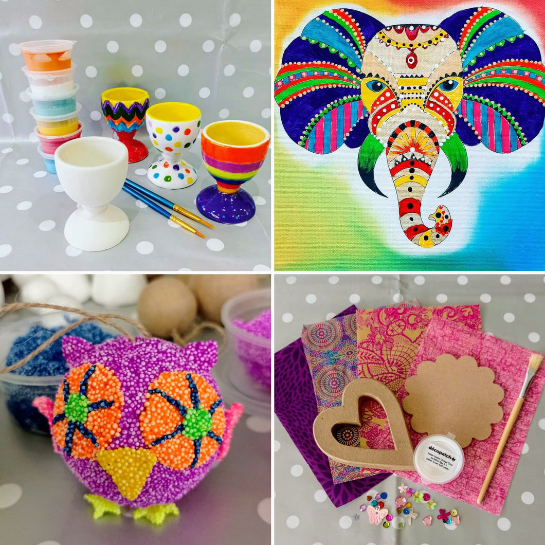 A few examples of the things we offer at Create It - pottery painting, canvas painting, foam clay and decoupage.