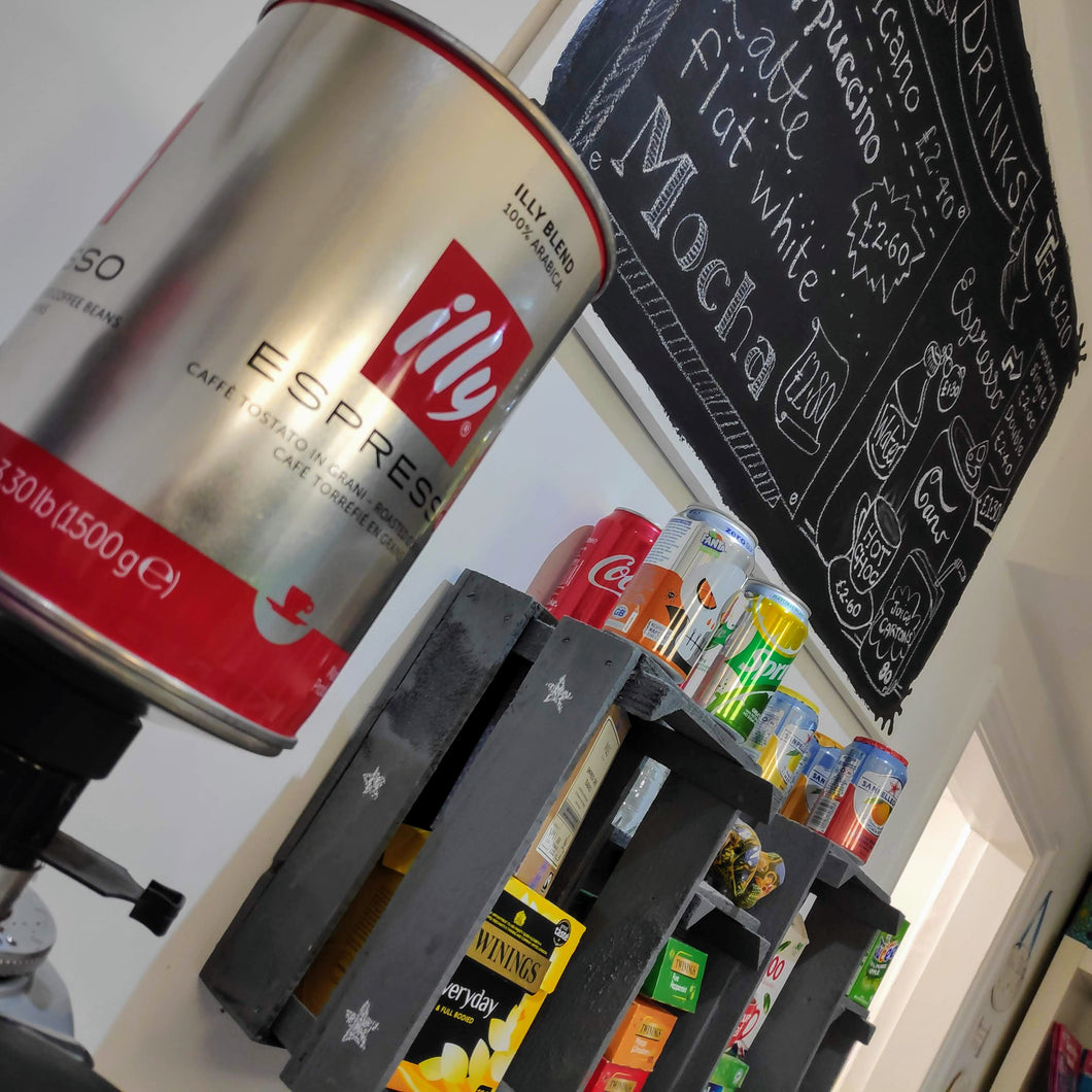 Some of the refreshments we offer, including Illy Coffee, teas, hot chocolate, soft drinks and juice.
