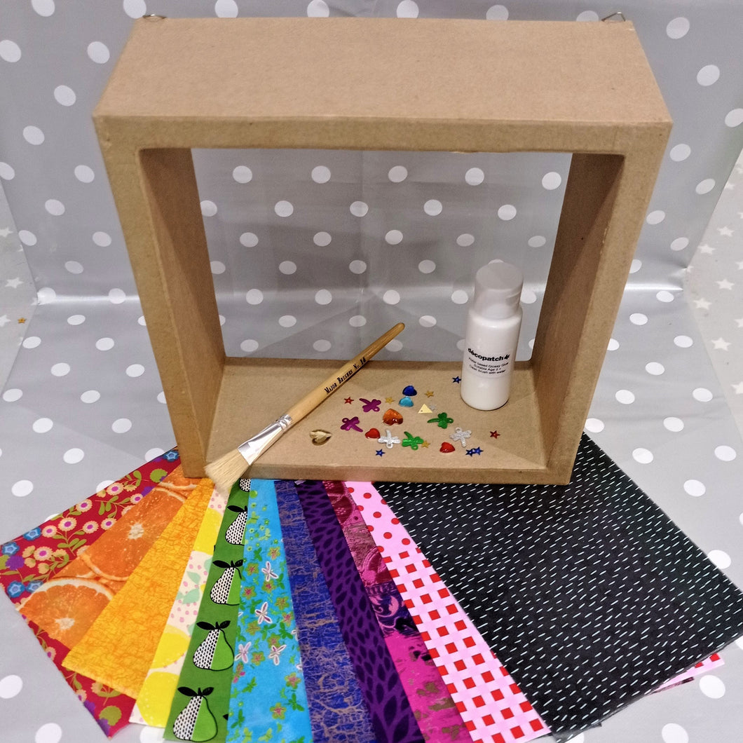 Decoupage Medium Cube Shelf Kit with decopatch papers, sequins, glue and brush