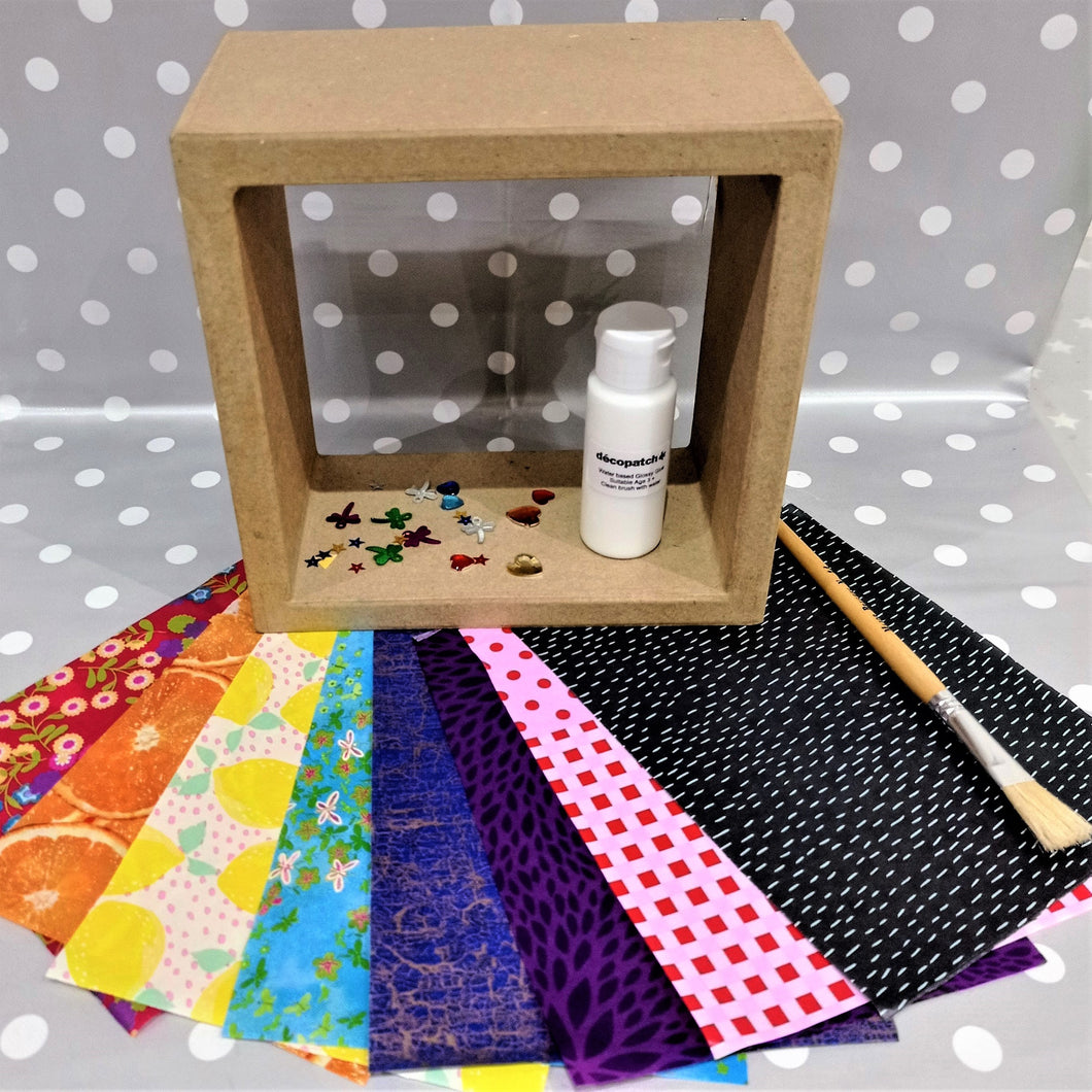 Decoupage Small Cube Shelf Kit with decopatch papers, sequins, glue and brush