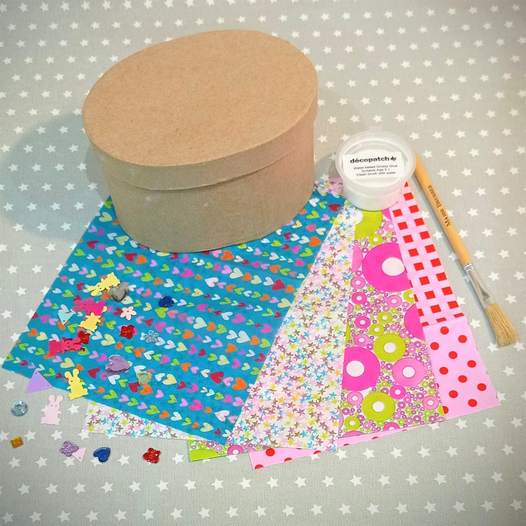Decoupage Oval Box Kit with decopatch papers, sequins, glue and brush