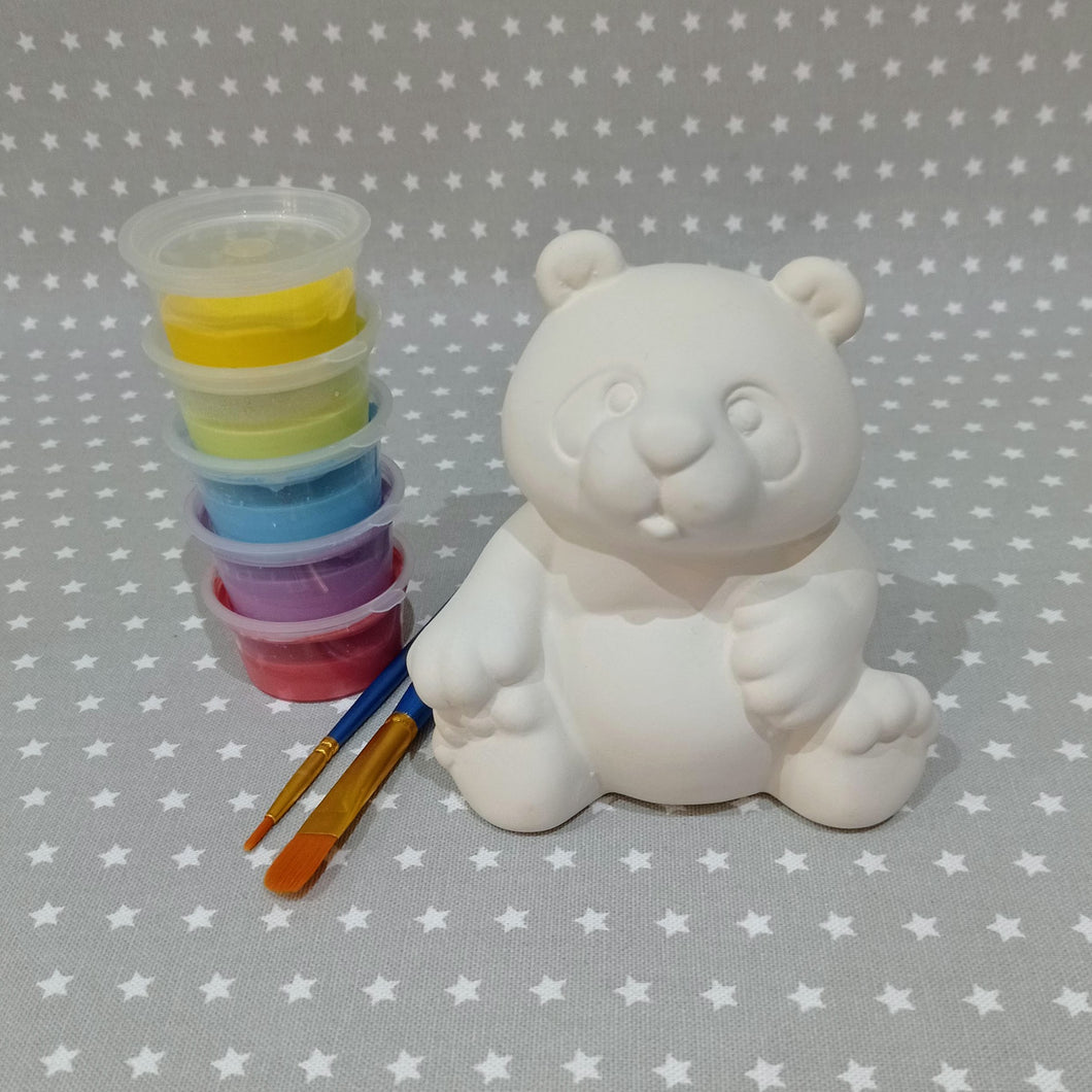 Ready to paint pottery - medium panda bear figure