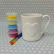 Load image into Gallery viewer, Ready to paint pottery - Heart Mug