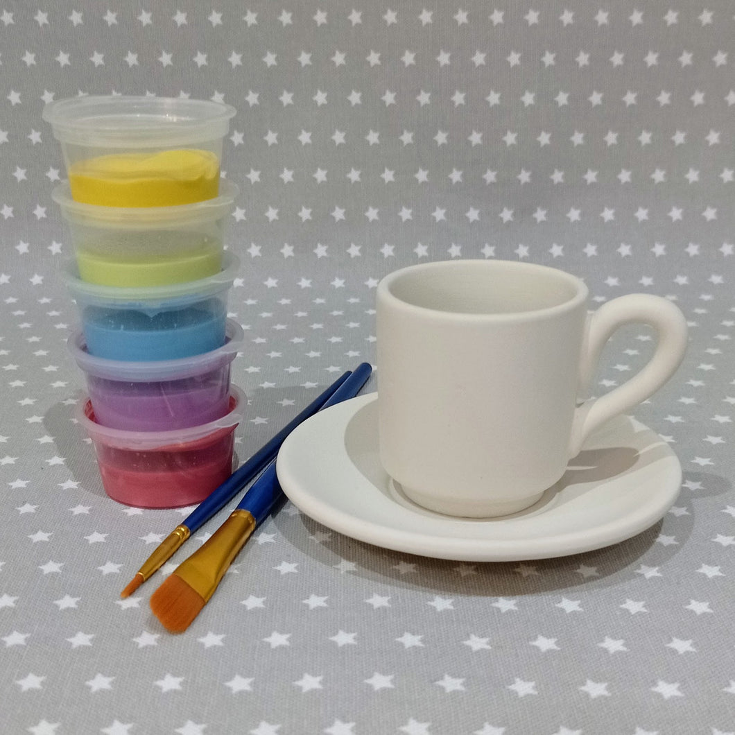 Ready to paint pottery - Espresso Cup and Saucer