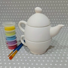 Load image into Gallery viewer, Ready to paint pottery - Tea for One Set