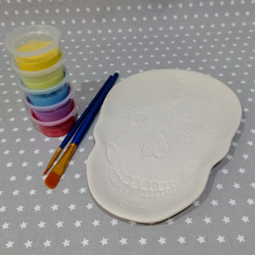 Ready to paint pottery - Sugar Skull Plate