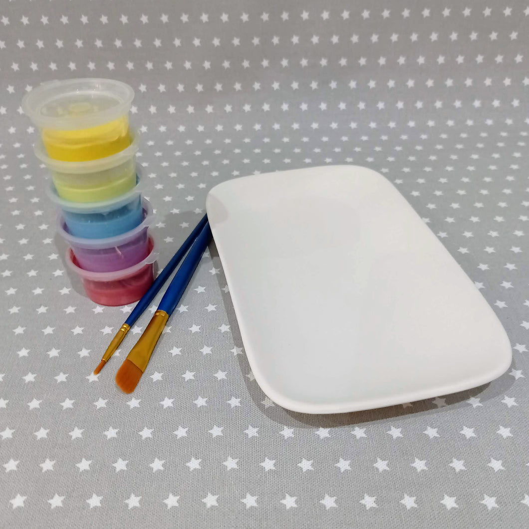 Ready to paint pottery - Rounded Rectangle Plate