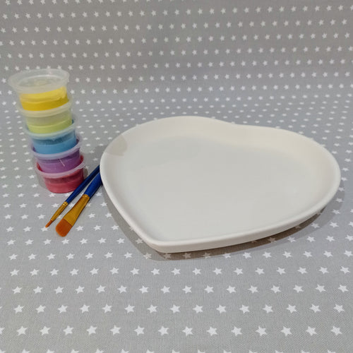 Ready to paint pottery - Deep Heart Shaped Plate	 £22.00