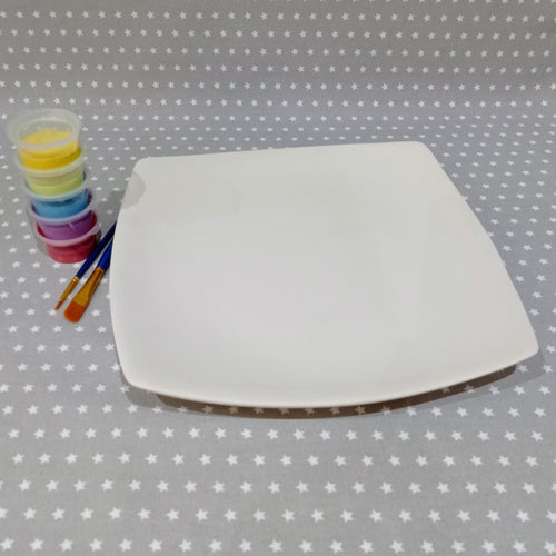 Ready to paint pottery - Curved Square Plate