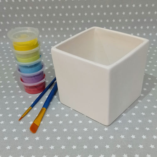 Ready to paint pottery - Square Herb Pot