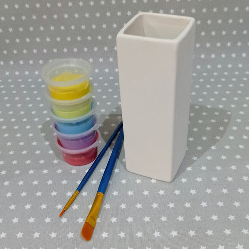 Ready to paint pottery - Square Bud Vase