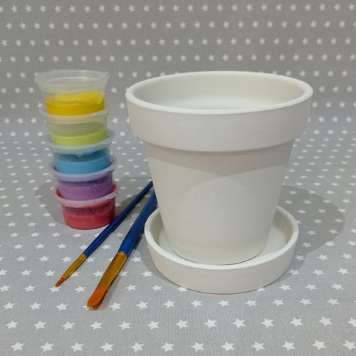Ready to paint pottery - Small Plant Pot & Saucer