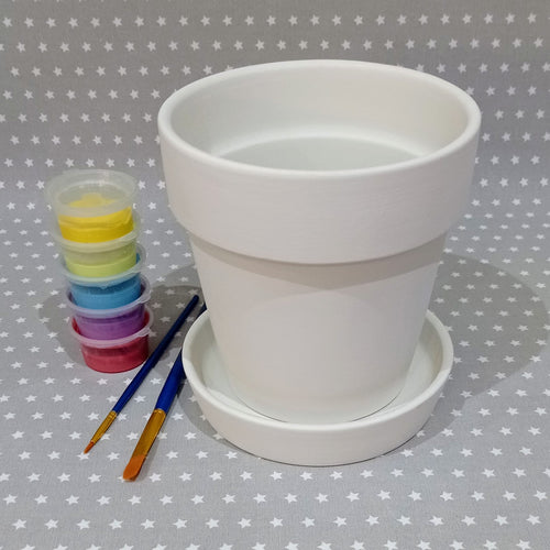 Ready to paint pottery - Large Plant Pot & Saucer