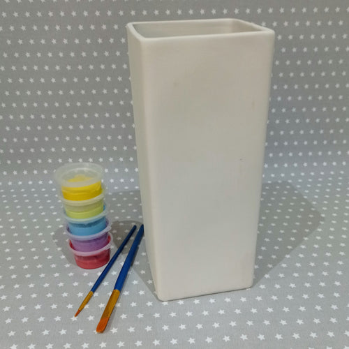 Ready to paint pottery - Tall Square Vase