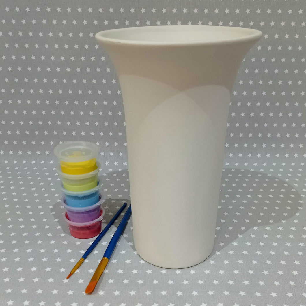 Ready to paint pottery - Tall Trumpet vase