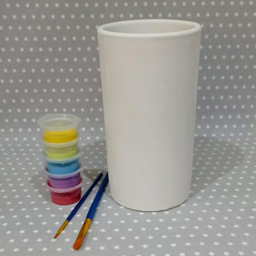 Ready to paint pottery - Tall Cylinder vase/Wine Cooler