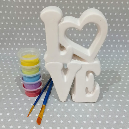 Ready to paint pottery - Tall LOVE Plaque