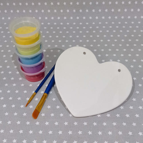 Ready to paint pottery - Classic Heart Plaque