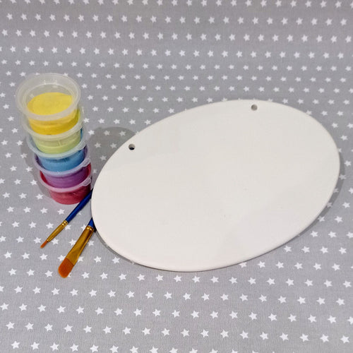 Ready to paint pottery - Oval Plaque with Beads