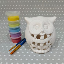 Load image into Gallery viewer, Ready to paint pottery - Owl Lantern