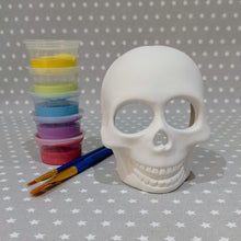 Load image into Gallery viewer, Ready to paint pottery - Skull Tealight