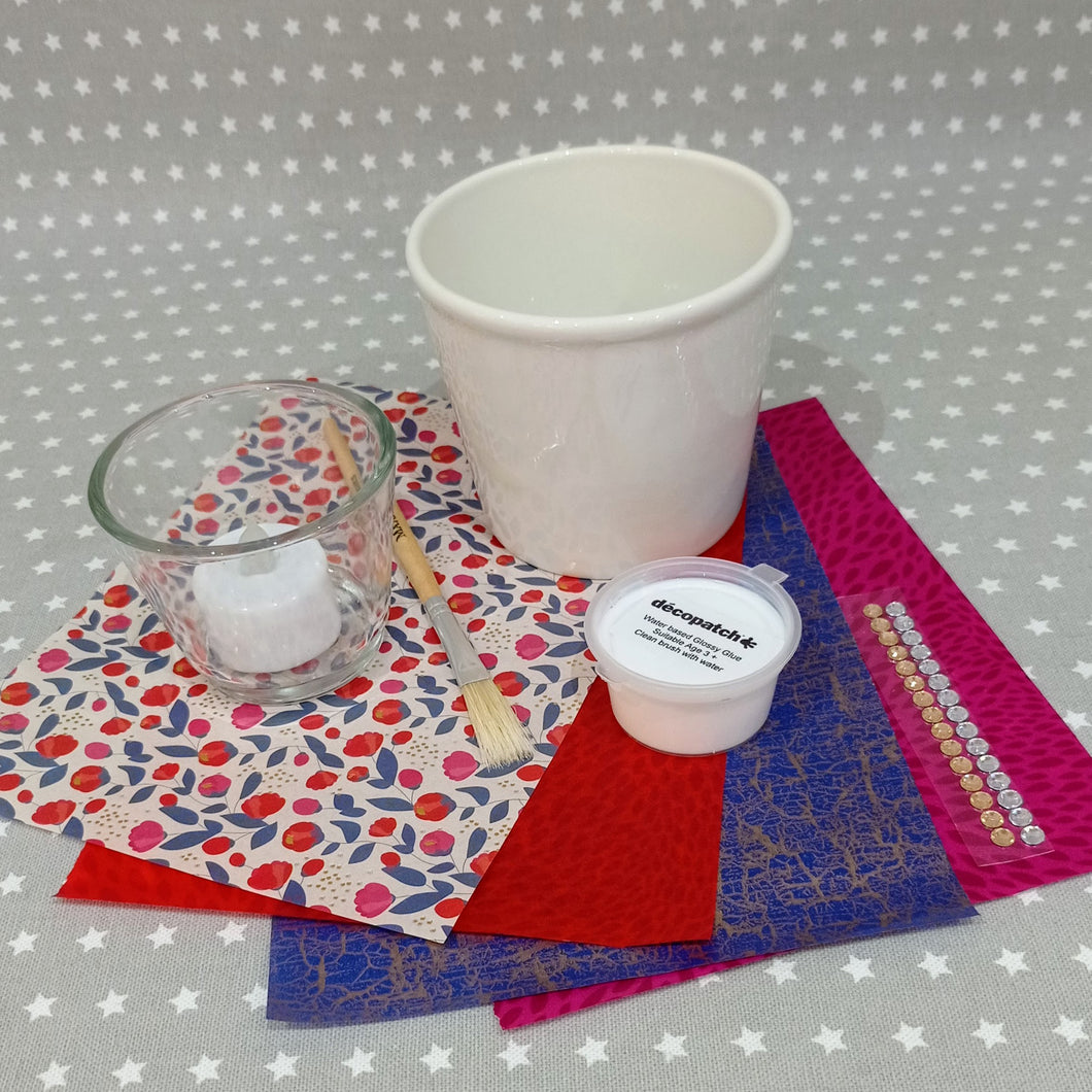 Decoupage Plant Pot and Tealight Kit