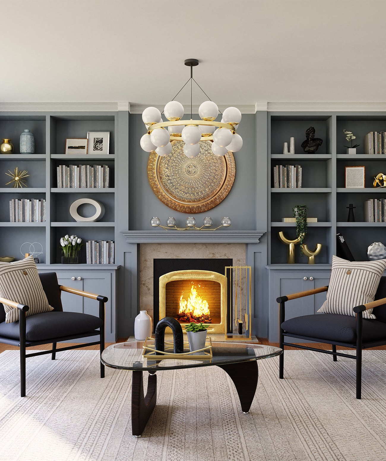 Gray traditional living room with chandelier and fireplace/Photography: Spacejoy/A traditional living room is brought to life with a well-placed, central fireplace as the focal point.