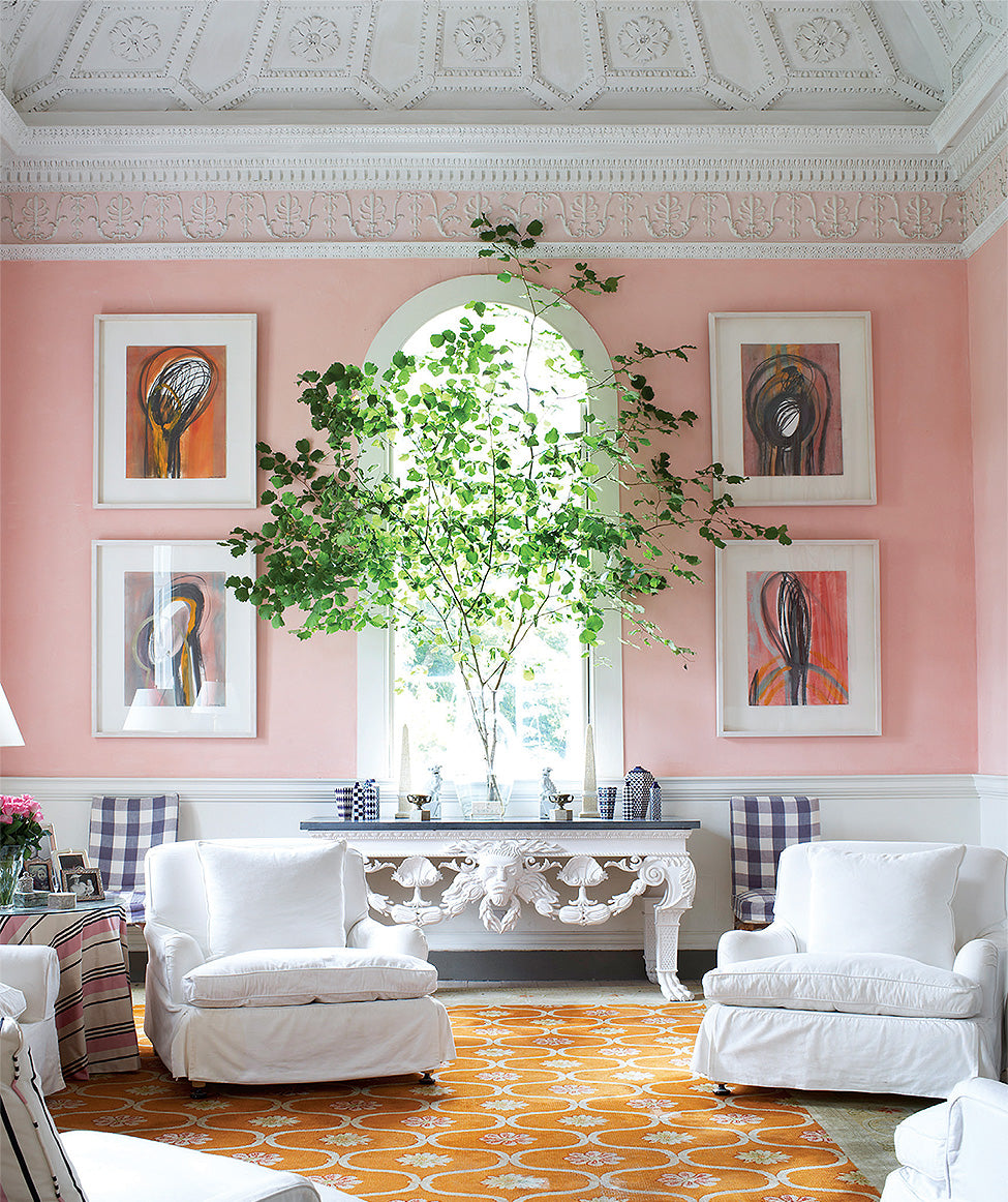 A pale pink sitting room/Photography: Luke White/A pale pink wash in this drawing room by the late designer John Coote.