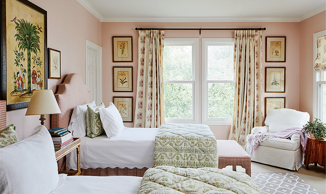 A pink kids' bedroom/Photography: Read McKendree/A children's bedroom designed by Meredith Ellis features walls painted in Sherwin-Williams's Pink Shadow paint.