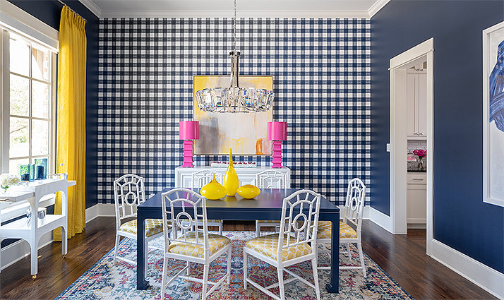 Accent wall design/Photographer: Michael Hunter Photography/Interior design by Traci Connell Interiors.