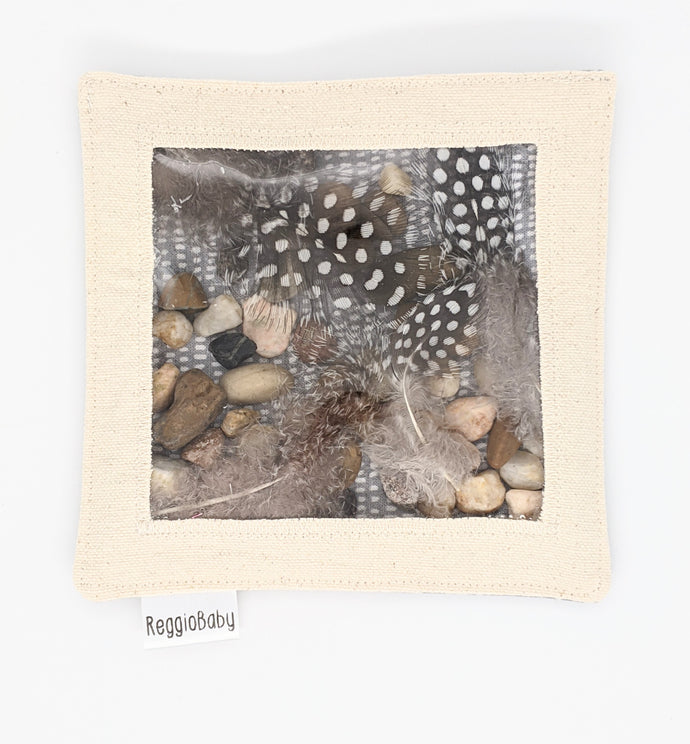 Large Sensory Toy with Natural Feathers and River Pebbles