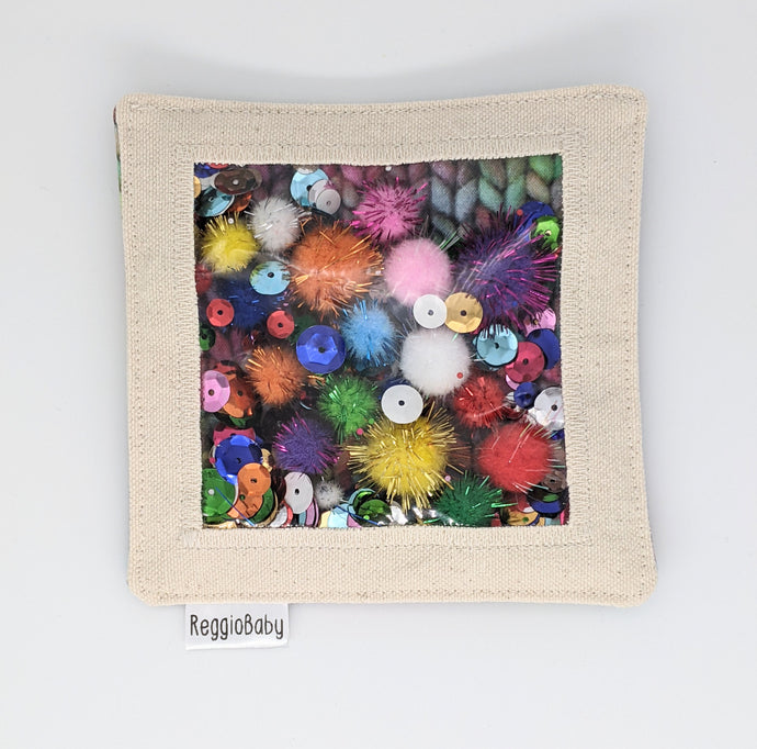 Large Sensory Toy with Sequins and Pom Poms