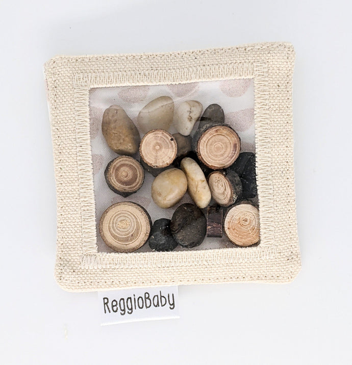 Mini Sensory Toy with Tree Pieces and River Pebbles
