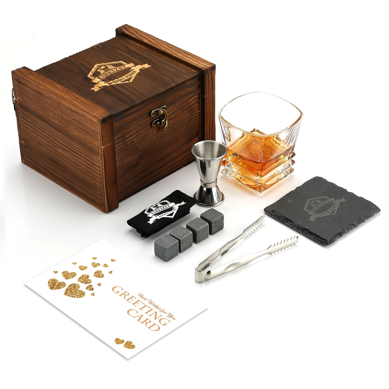 Whiskey Stones and Glass Gift Box Set - Granite Chilling Rocks, Best Drinking for Men Dad Husband Birthday Party Holiday Present