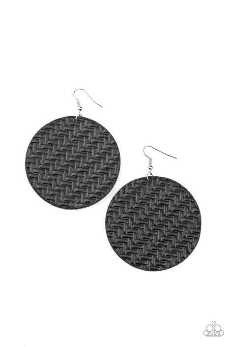 Plaited Plains - Black Earrings - Paparazzi Accessories