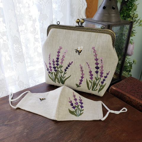 Full view of the lavender bag and mask