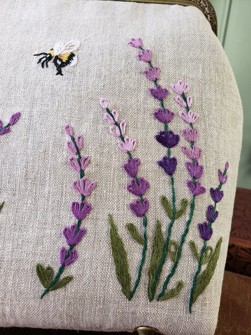 Detail of lavender embroidery