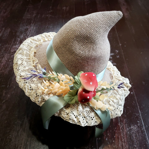 Taupe hat green ribbon
